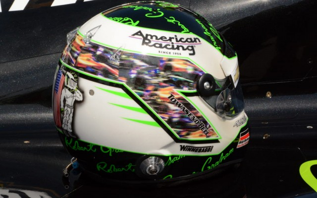 Townsend Bells's colorful helmet at Indy.  [Joe Jennings Photo]