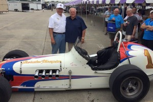 Dan Davis (current owner) and A.J. Foyt pose with the Sheraton-Thompson Special dirt car A.J. put on the pole for the 1965 Tony Bettenhausen 200 at the Milwaukee Mile.  [Photo by Steve Zautke]