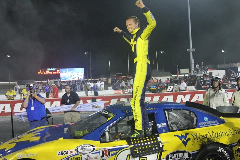 Travis Braden celebrates, at Lucas Oil Raceway Indianapolis, after his first ARCA Racing Series win in his first series start. [Photo courtesy ARCA Racing Series presented by Menards]
