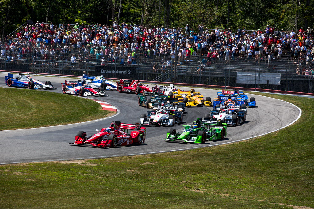 Scott Dixon leads the first lap of at the Mid-Ohio Sports Car Course. [Andy Clary Photo]