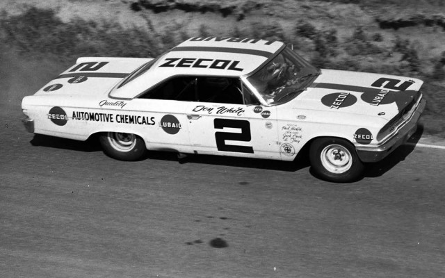 Don White driving the Zecol-Lubaid 1963 Ford finished second. [Photo by Russ Lake]