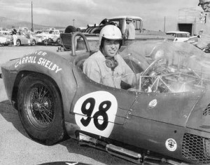 Carroll Shelby, the racer, is shown here in the Birdcage Maserati he so skillfully piloted, sans signature bib overalls. Shelby looks right at home. Note the race no. 98, which would later become Ken Miles' number of choice, and the Autolite sponsorship—odd, for an Italian sports racing car.  [Photo courtesy of Shelby American, Inc.]