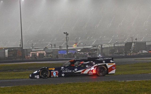 Delta Wing scoots through east horseshoe in the fog during night practice.  [Joe Jennings Photo]