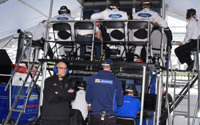 To oversee the Ford GT camp, a two-level pit box is employed.  [Joe Jennings Photo]
