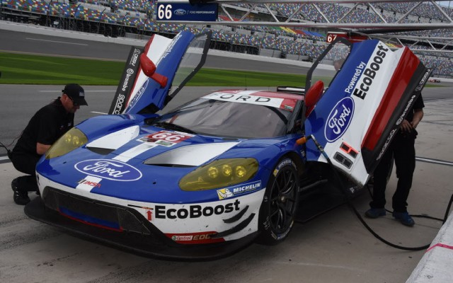Commanding a lot of attention were the Ford GTs from Chip Ganassi Racing.  The two cars finished 5th and 7th on the time charts for the weekend of tests.  [Joe Jennings Photo]