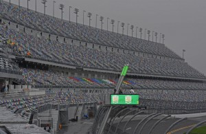 View of new and steeply banked seating at the Daytona International Speedway. [Joe Jennings Photo]