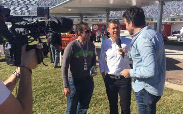 Tom Kristensen interviewed for Direct Auto.  [Eddie LePine photo]