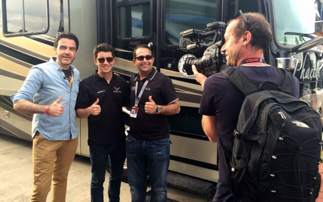 Our French TV crew with Rocky. L-R: Gregory Galiffi, Rocky, me and cameraman Gael Chatelus.  [Eddie LePine photo]