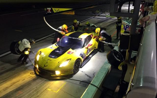 Night pit stop for the winning Corvette.  [Eddie LePine photo]