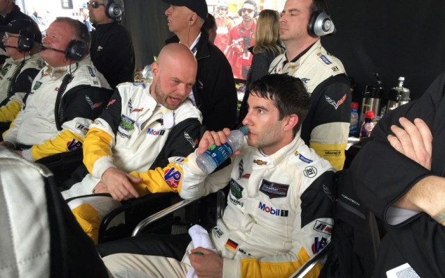 Mike Rockenfeller in the Corvette pits at Daytona.  [Photo by Eddie LePine]