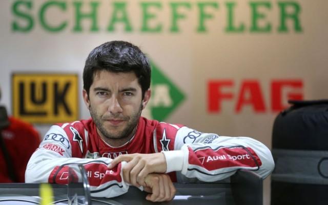 Mike Rockenfeller in the garage.  [Photo by Audi Motorsport]