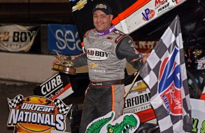 Donny Schatz is all smiles after collecting his first win in 2016. [Joe Jennings Photo]