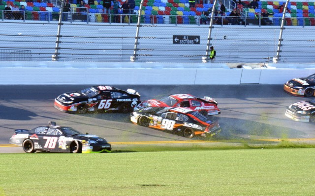 The first big wreck of the Lucas Oil 200 collected 8 cars.  [Russ Lake Photo]
