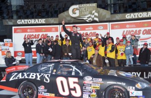John Wes Townley celebrates in victory lane at Daytona. [Russ Lake Photo]