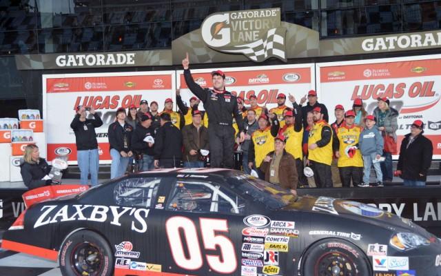 John Wes Townley celebrates in victory lane at Daytona.  [Russ Lake Photo]