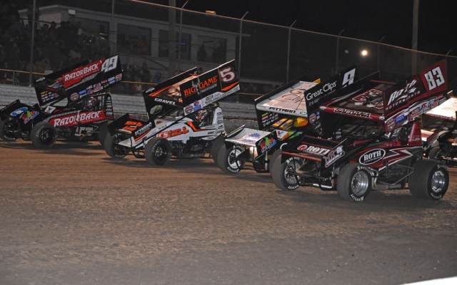In pre-race four-wide salute, the two front rows merge with Brad Sweet at far left with David Gravel next to him along with Daryn Pittman and Joey Saldana.  [Joe Jennings Photo]