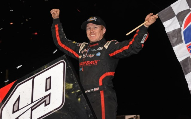 Brad Sweet gives victory salute for his second WoO victory of young season.  [Joe Jennings Photo]