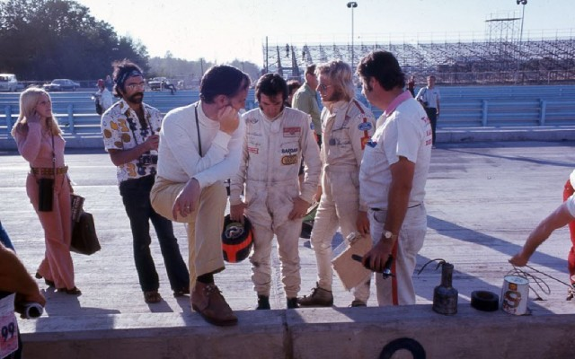 Emerson Fittipaldi in the pits at Watkins Glen in 1971.  [Photo by Jack Webster]
