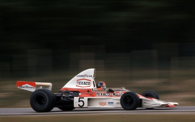 Emerson Fittipaldi at speed in the McLaren in 1974.  [Photo by Jack Webster]