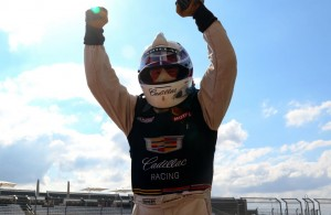 Johnny O'Connell celebrates his Pirelli World Challenge victory. [Michael Wells Photo]