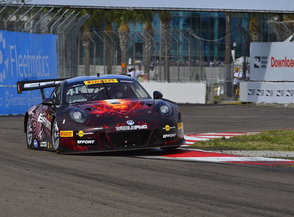 Michael Lewis drives his Porsche to his first Pirelli World Challenge series victory. [photo courtesy Pirelli World Challenge]