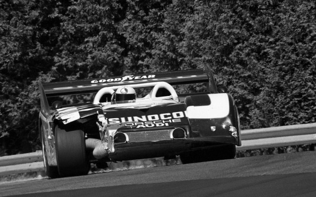 Mark Donohue in 1973. Original 35mm black and white negative.  [Photo by Jack Webster]