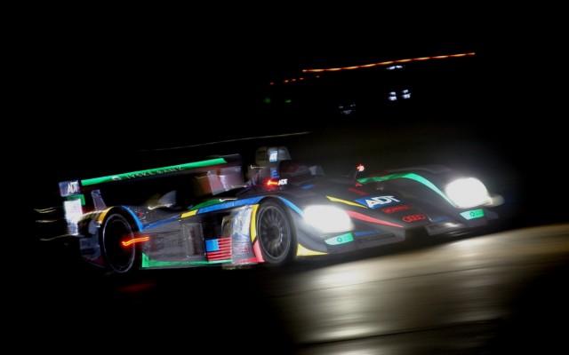 Champion Audi R8 at night. Digital original image.  [Photo by Jack Webster]
