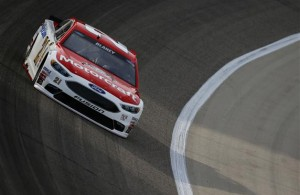 Ryan Blaney practices for the NASCAR Sprint Cup Series Duck Commander 500 at Texas Motor Speedway in Fort Worth, Texas. [Credit: Jonathan Ferrey/Getty Images for Texas Motor Speedway]