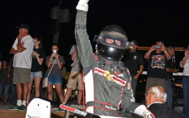 Kody Swanson gives victory salute after winning third straight Hoosier 100.  [Joe Jennings Photo]