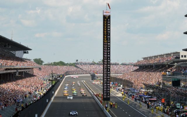 100th running of the Indianapolis 500 pace lap.  [Russ Lake Photo]