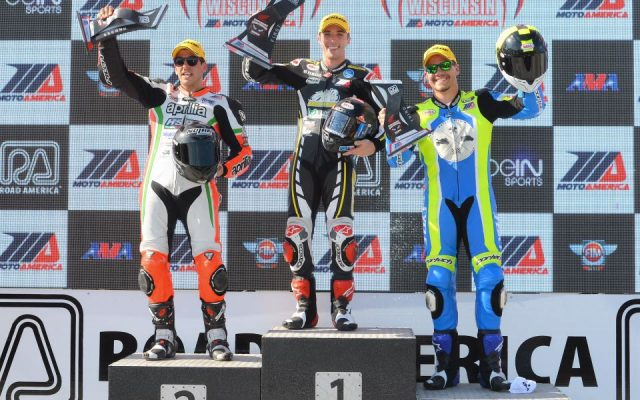 Superstock Race #2; Left to Right; #71 Claudio Corti Aprilia RSU4 RF 2nd place, #2 Josh Herrin Yamaha 1st place, #169 Hayden Gillim 3rd place.  [Dave Jensen Photo]