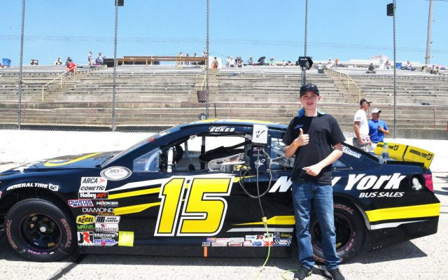 15 year old Christian Eckes started his 2nd ARCA race in the fifth position.  [Russ Lake Photo]