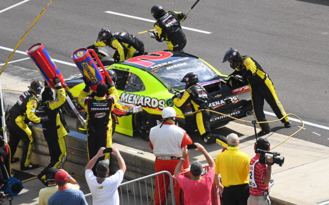 Paul Menard pits at Indianapolis in the Xfinity Series race.  [Russ Lake Photo]