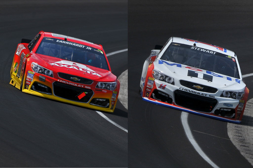 Jeff Gordon (driving for Dale Earnhardt Jr) and Tony Stewart at the Brickyard this weekemd. [John Wiedemann Photos]