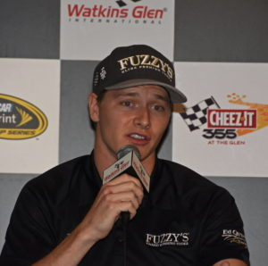 IndyCar star Josef Newgarden meets with media at Watkins Glen International.  [Joe Jennings Photo]