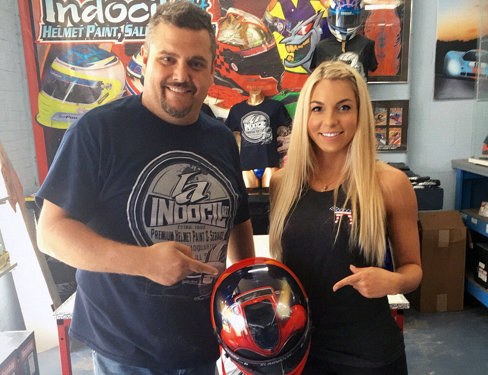 """Ryan Young and Lizzy Musi with the """"Eliminator"""" helmet. [Photo courtesy Lizzy Musi and Indocil Art]"""
