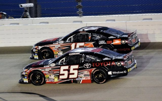 Dalton Sargeant (55) and Christopher Bell (15) getting to turn 1.  [Kim Kemperman Photo]