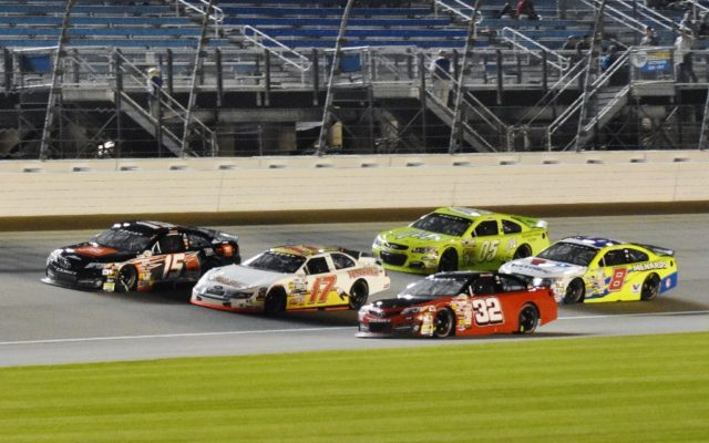 Shane Lee (32), Ty Majeski (17), Christopher Bell (15), Brandon Jones (8) and John Wes Townley (05) Exciting 3 wide on front stretch.  [Kim Kemperman Photo]