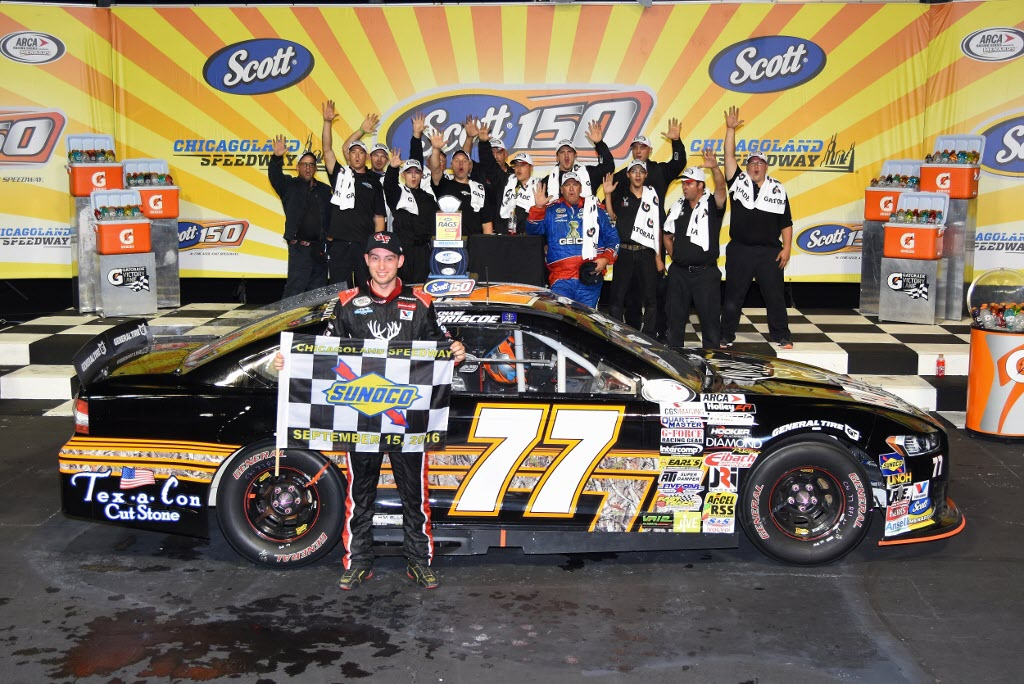 Chase Briscoe the ARCA winner in Victory Lane at Chicagoland. [Kim Kemperman Photo]
