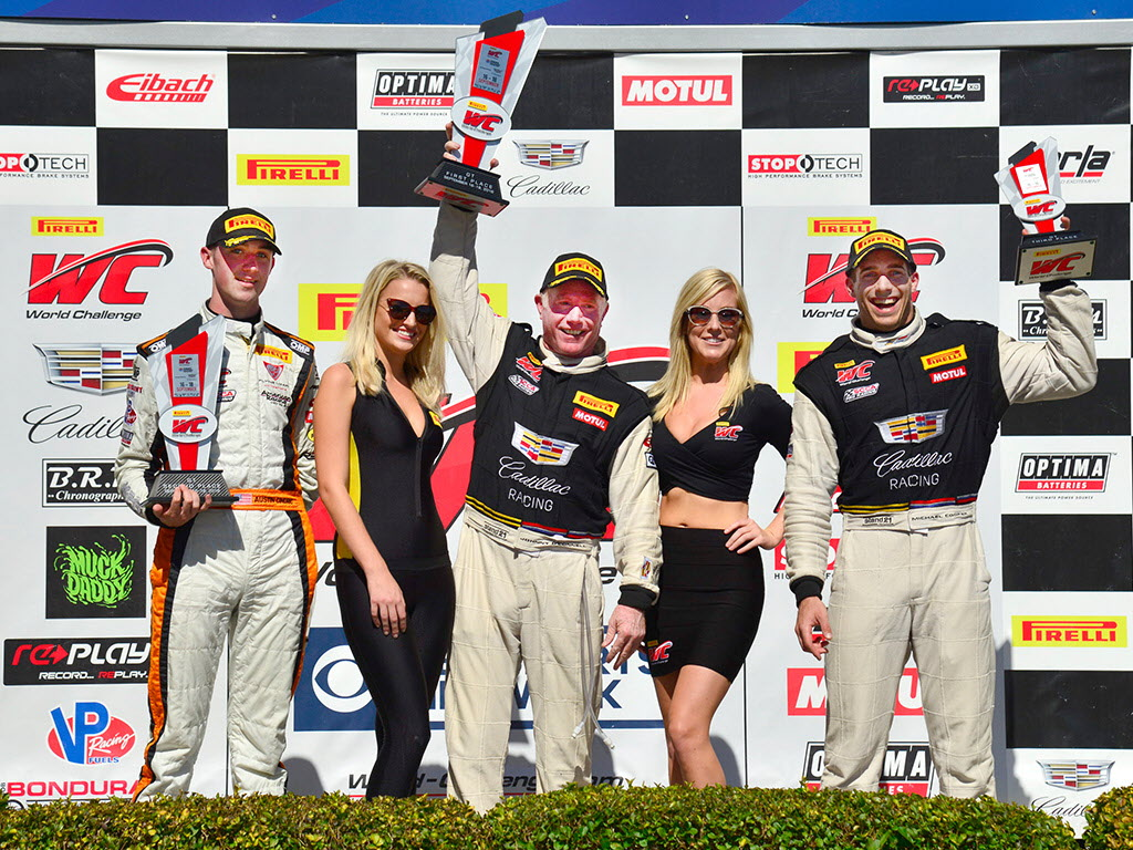 Pirelli World Challenge podium: Austin Cindric (2nd), Johnny O'Connell (winner), and Michael Cooper (3rd). [photo courtesy Pirelli World Challenge]