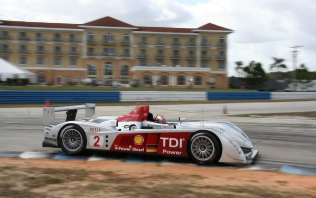 Dindo Capello pilots the Audi R10 at Sebring's hairpin.  [Photo by Jack Webster]