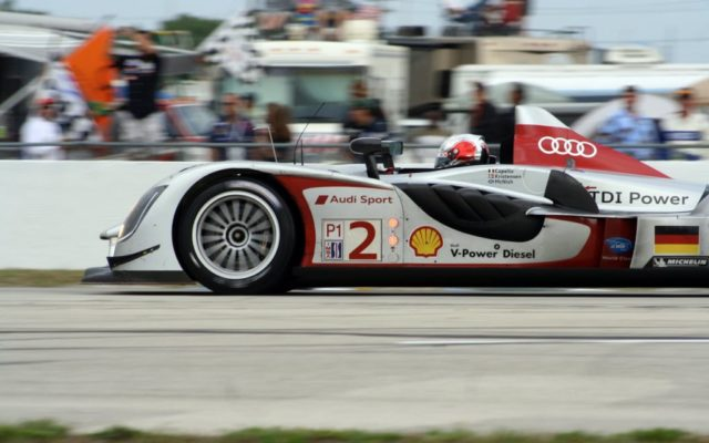 Dindo Capello powers out of the hairpin in the Audi R15.  [Photo by Jack Webster]
