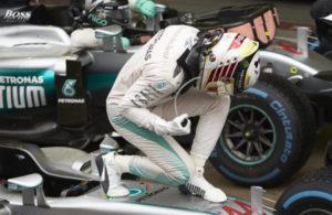 Lewis Hamilton celebrates victory in the 2016 Brazilian Grand Prix. [Photo courtesy Mercedes AMG F1]