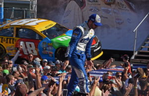 Jimmie Johnson salutes beforehand. [Joe Jennings Photo]