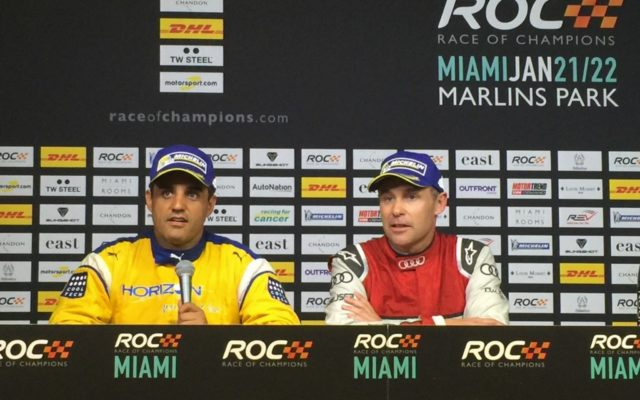 Post race press conference with Montoya and Kristensen.  [Photo by Eddie LePine]