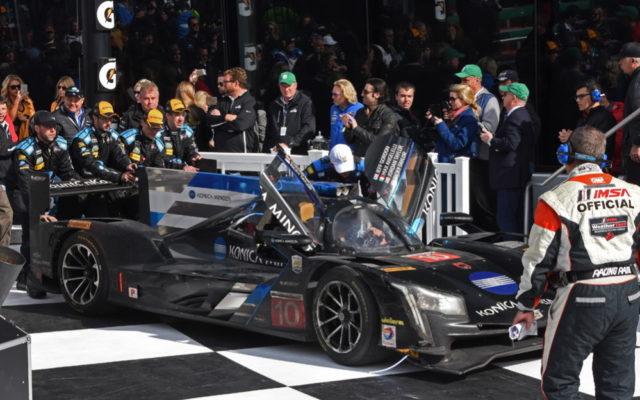 Winning car pushed to victory lane.  [Joe Jennings Photo]