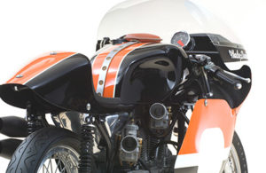This 1972 XRTT road racer model is powered by the improved steel-sleeved aluminum alloy version of the XR racing engine, which debuted the same year.