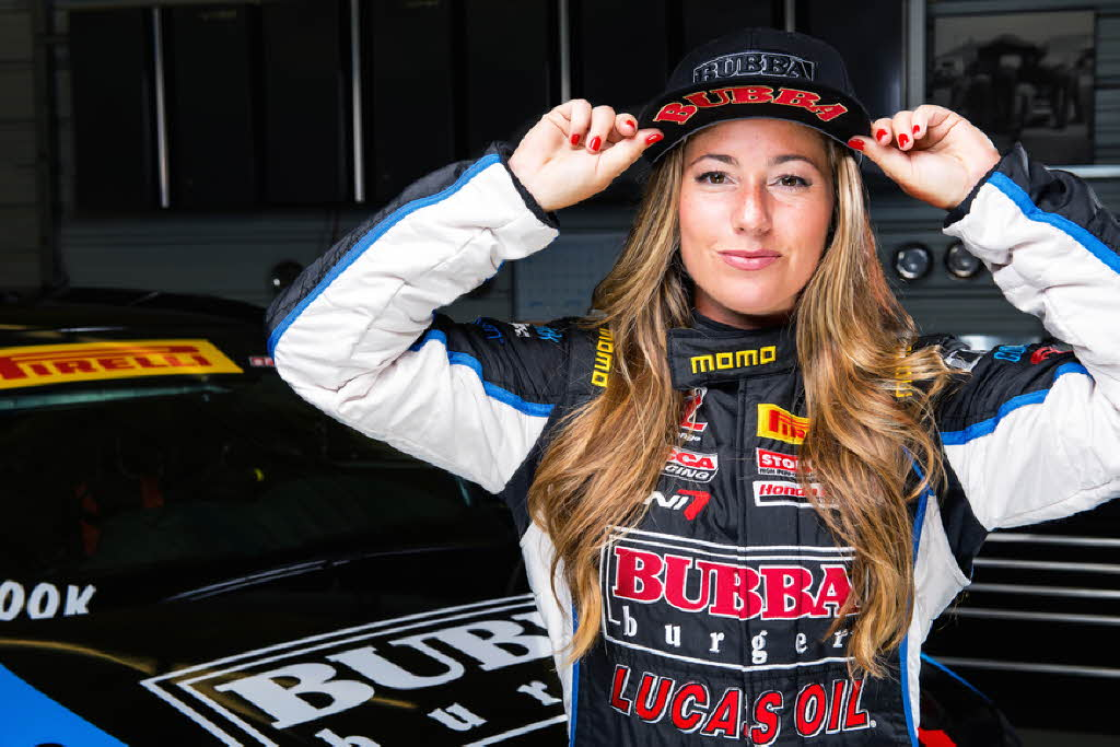 Pirelli World Challenge driver Shea Holbrook sports her Bubba Burgers hat.