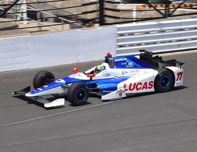 Jay Howard in action on Fast Friday at Indianapolis. [Russ Lake Photo]