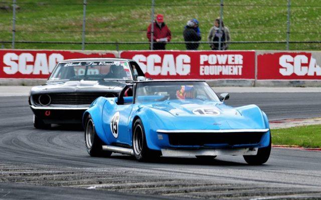 #15 Matt Jensen (Corvette) leads the Black Tie Racing entry through turn 5 in Group 6, 12 2nd Round qualifying.  [Dave Jensen Photo]